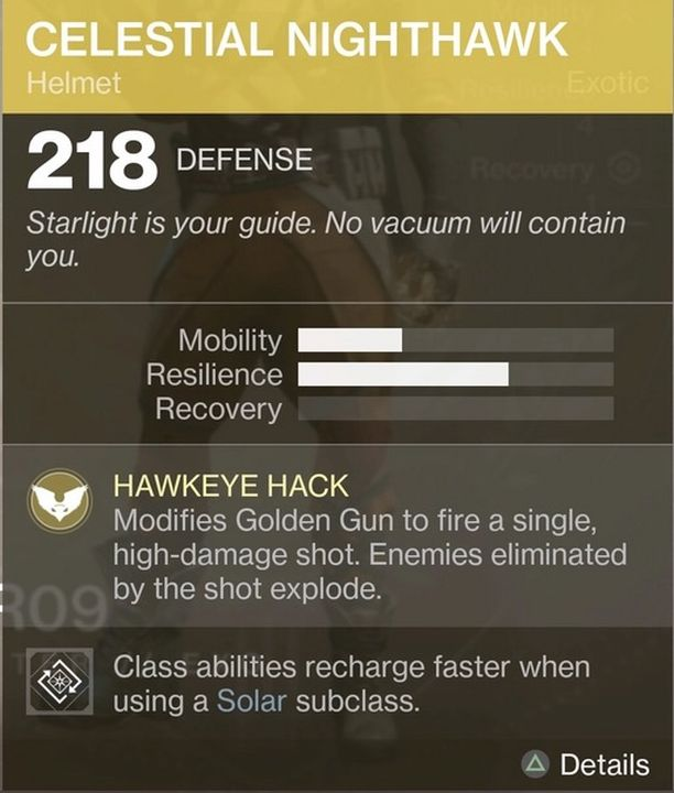 Destiny 2 Exotic Gear: Celestial Nighthawk (Hunter Helmet)