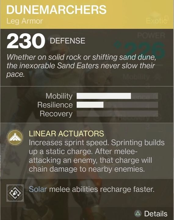 Destiny 2 Exotic Gear: Dunemarchers (Titan Leg Armor)