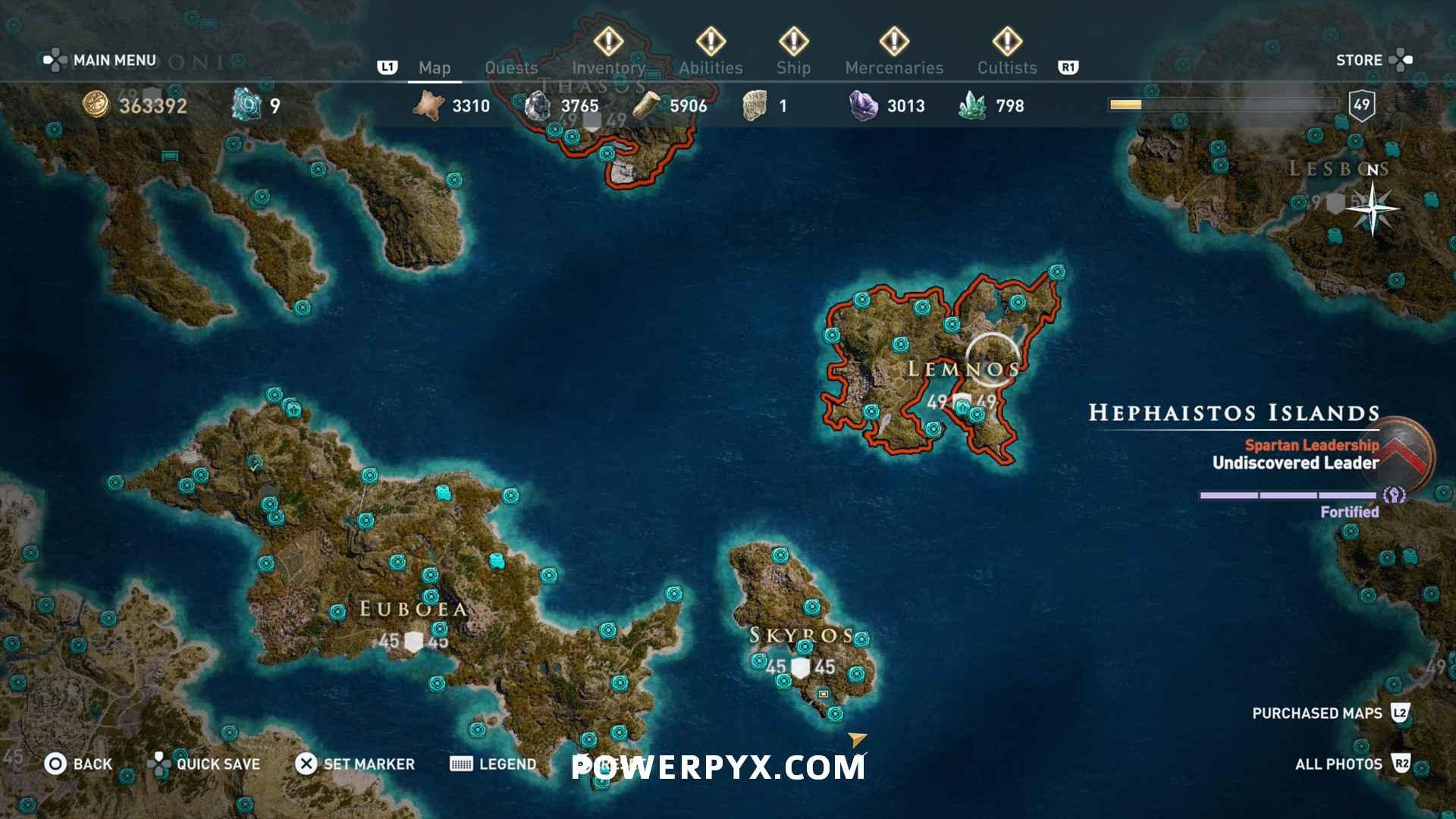Assassins Creed Odyssey Orichalcum Fragments Map Lemnos Fragment Locations