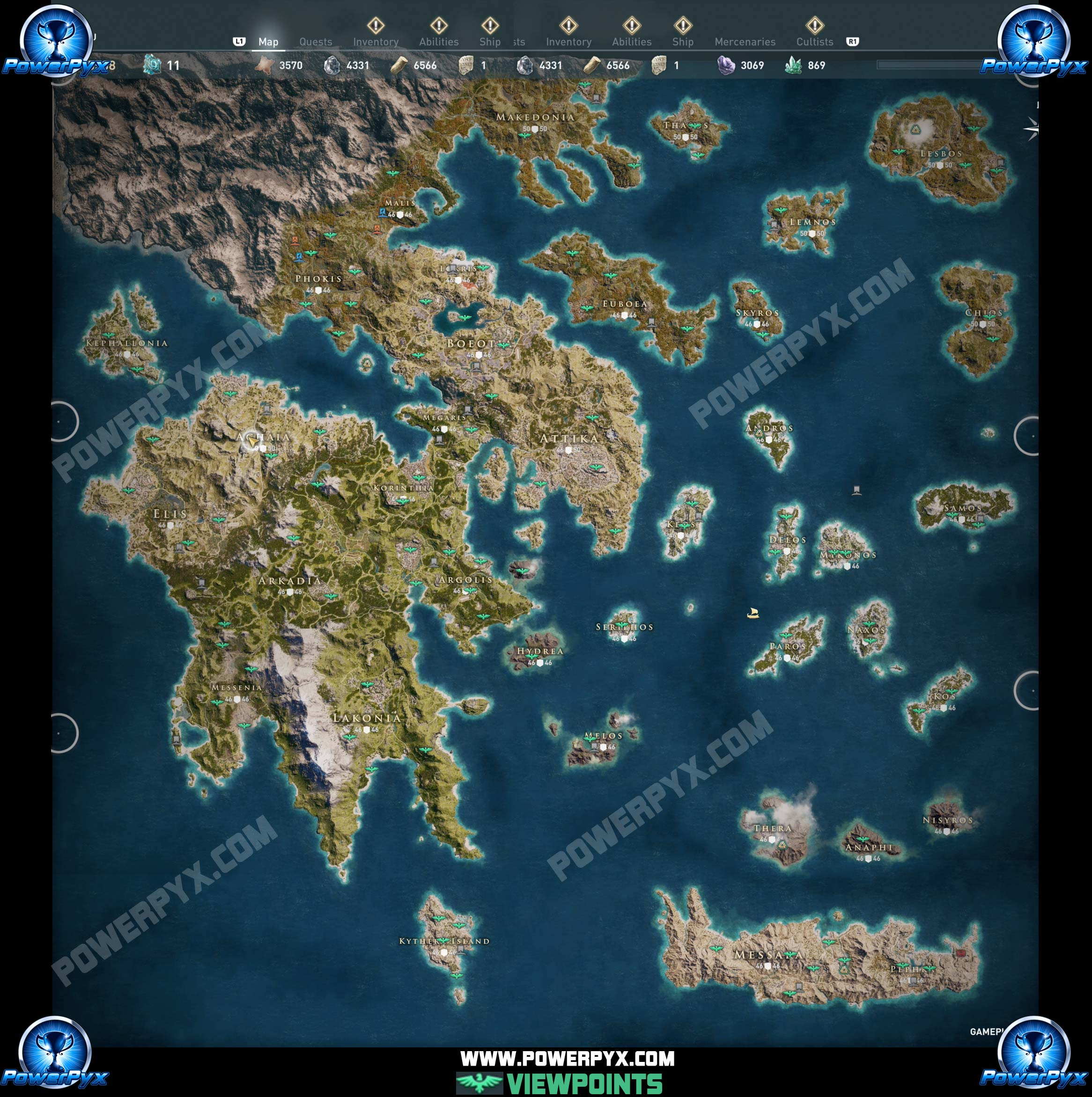 assassins creed odyssey karte Assassin's Creed Odyssey Viewpoint Locations Map