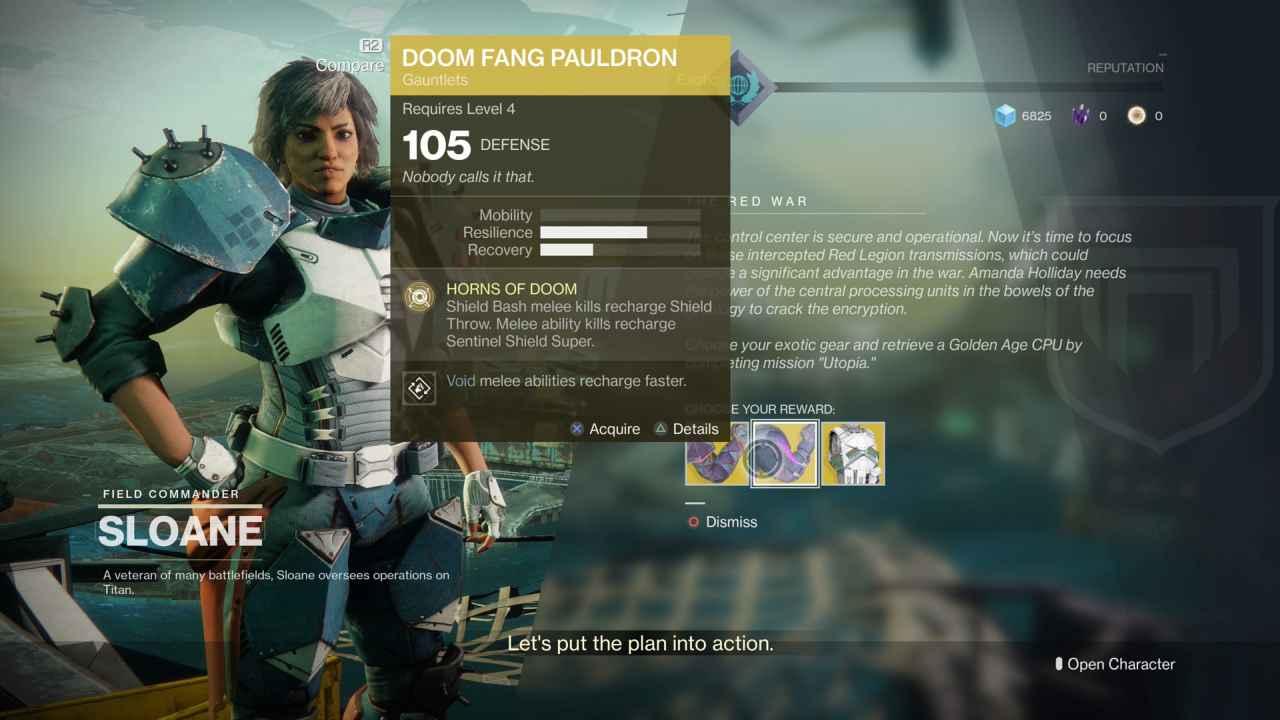 Destiny 2 Exotic Gear: Doom Fang Pauldron (Titan Gauntlet Armor)
