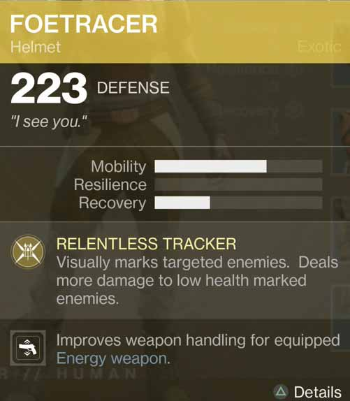 Destiny 2 Exotic Gear: Foetracer (Hunter Helmet)