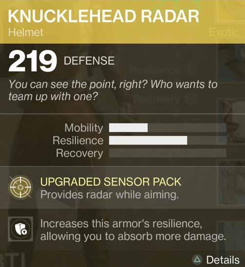 Destiny 2 Exotic Gear: Knucklehead Radar (Hunter Helmet)