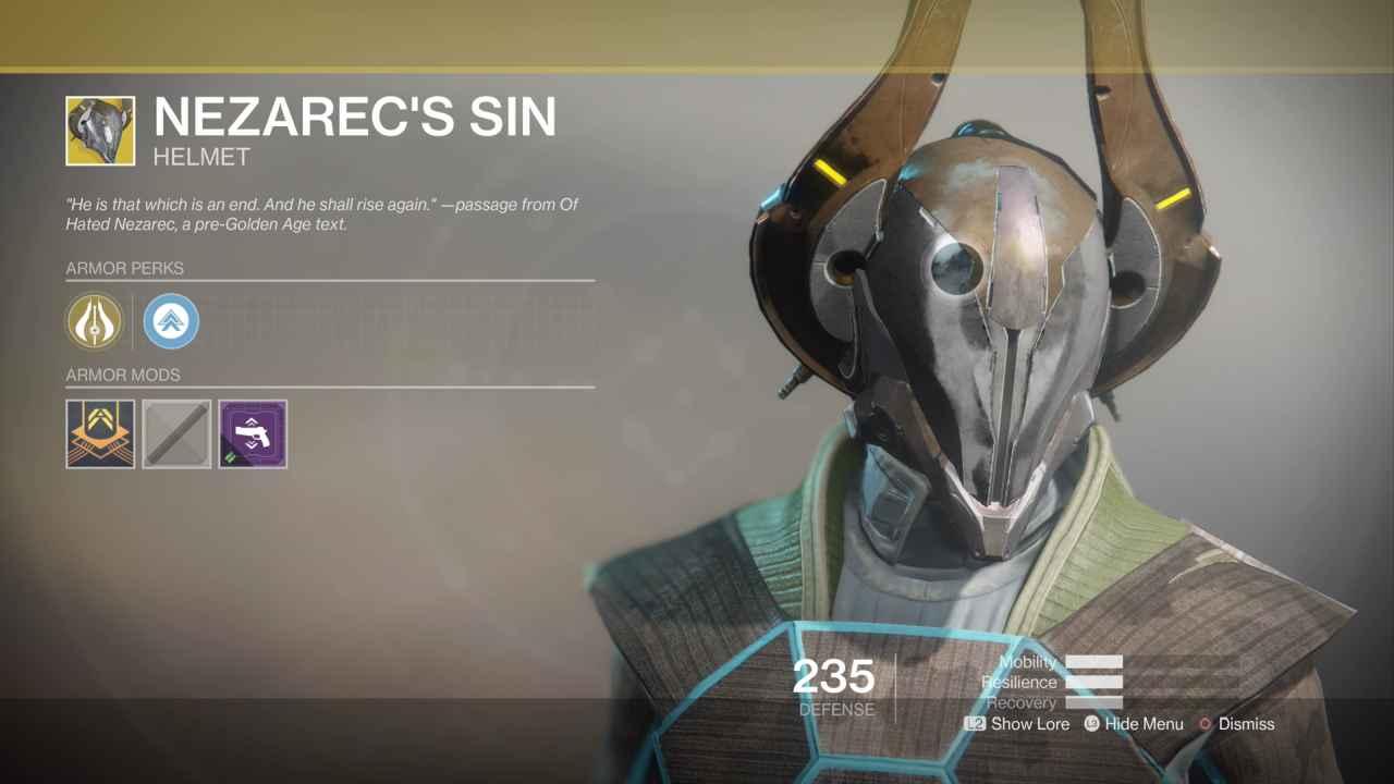 Destiny 2 Exotic Gear: Nezarec's Sin (Warlock Helmet)