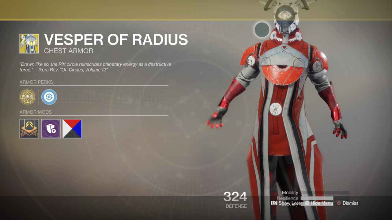 Destiny 2 Curse of Osiris Exotic: Vesper of Radius (Warlock