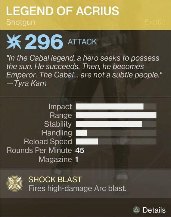Legend of Acruis Shotgun stats