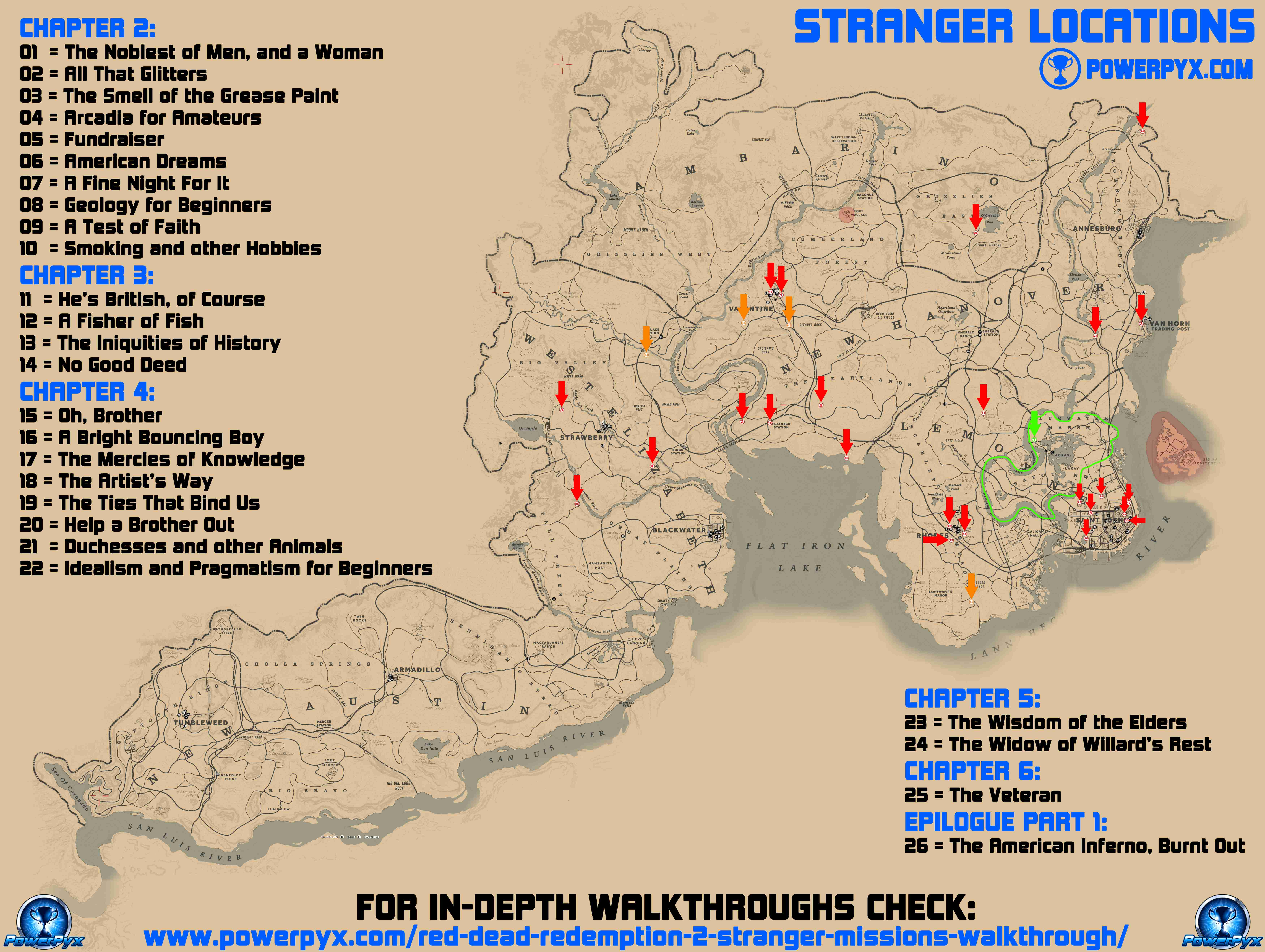 Red Dead Redemption 2 All Stranger Locations Map